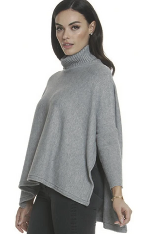 Metric Knits Dolman Sleeve Turtleneck Poncho Top - Light Grey