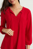 Image of Joseph Ribkoff Tie Neck Tunic - Lipstick Red