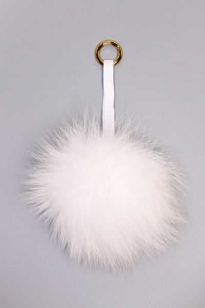 Fox Fur Pom Pom Keychain - White