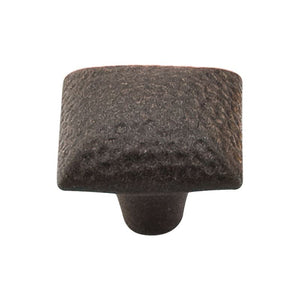 "Top Knobs Square Iron Knob Dimpled 1 3/8"" - Rust"