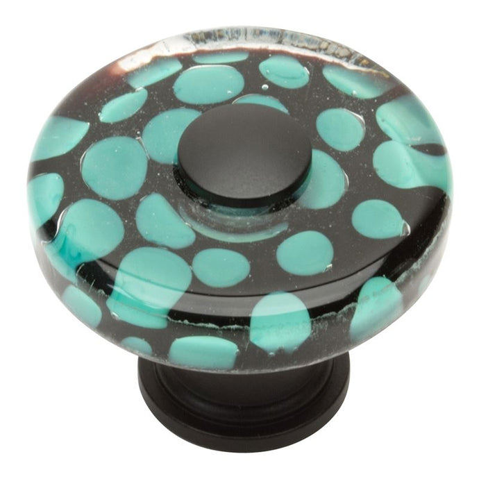 Atlas Emerald Polka Dot Round Glass Knob