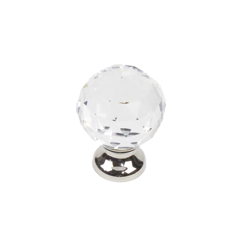 Glamour - Transparent Faceted Knob - 30mm dia  with Polished Nickel brass base