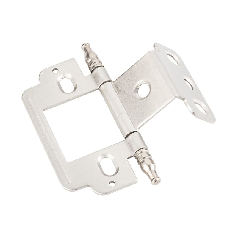 Full Inset Partial Wrap 3/4 Flush Hinge with Decorative Finial Tip Satin Nickel