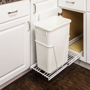 White 35 or 50 Quart Single Pullout Waste Container System