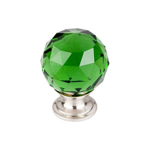 "Top Knobs Green Crystal Knob 1 3/8"" w/ Brushed Satin Nickel Base"