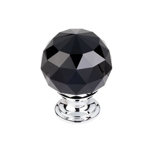 "Top Knobs Black Crystal Knob 1 3/8"" w/ Polished Chrome Base"