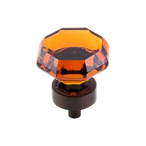 "Top Knobs Wine Octagon Crystal Knob 1 3/8"" w/ Oil Rubbed Bronze Base"