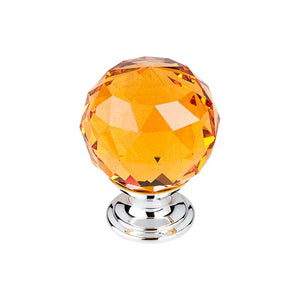 "Top Knobs Amber Crystal Knob 1 3/8"" w/ Polished Chrome Base"