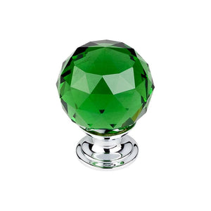 "Top Knobs Green Crystal Knob 1 3/8"" w/ Polished Chrome Base"
