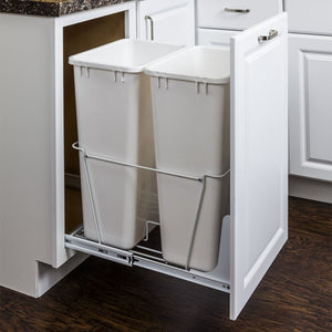 White 50-Quart Double Pullout Waste Container System