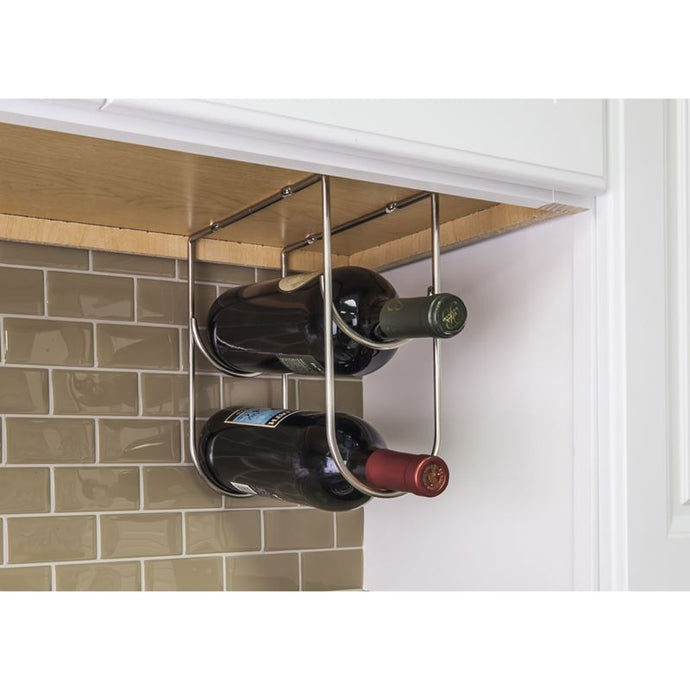 Satin Nickel Under Cabinet Wine Bottle Rack