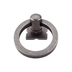 "Top Knobs Smooth Ring Pull 1 9/16"" w/Backplate - Pewter"