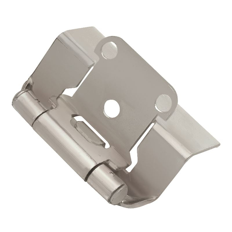Self-Closing Semi-Concealed Collection Hinge Semi-Concealed Satin Nickel Finish (2 Pack)