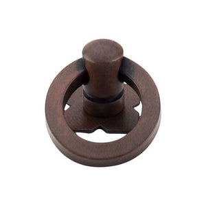"Top Knobs Smooth Ring Pull 1 3/16"" w/Backplate - Patina Rouge"