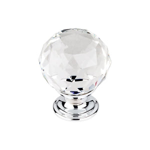 "Top Knobs Clear Crystal Knob 1 3/8"" w/ Polished Chrome Base"