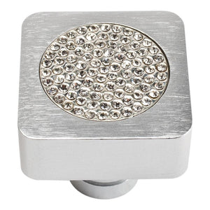 Atlas Small Czech Inset Crystal SquareKnob