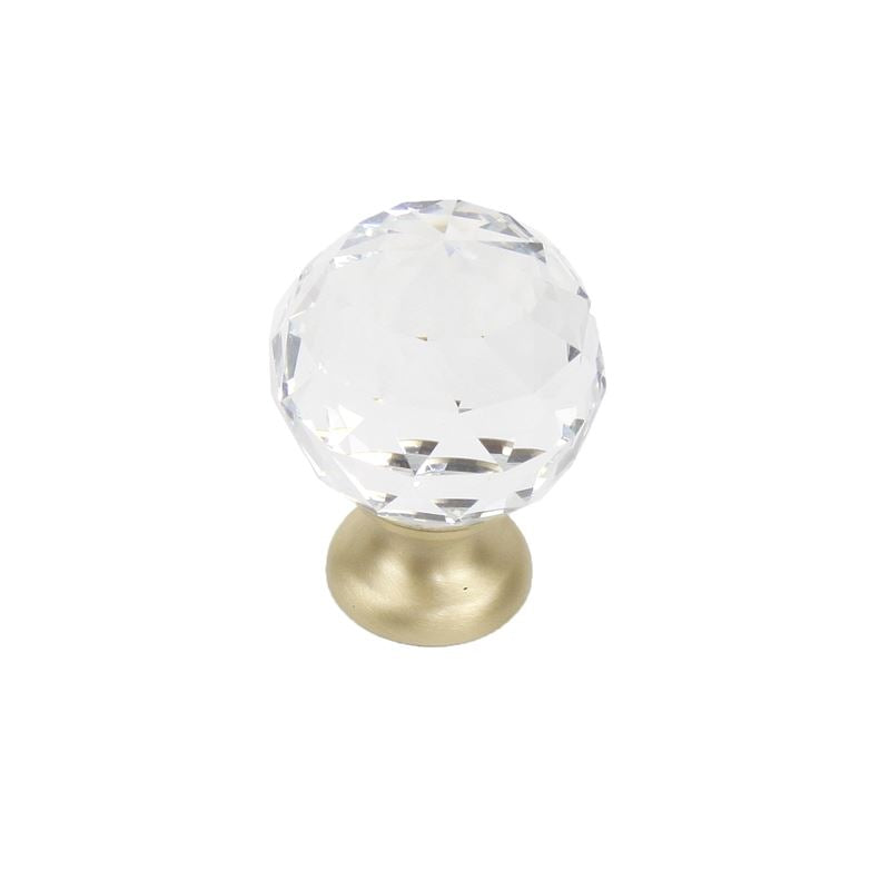 Glamour - Transparent Faceted Knob - 30mm dia with Satin brass base