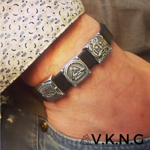 leather runes bracelet viking