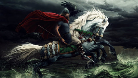 odin and his ravens on the back on the orse with 8 legs Sleipnir running on water