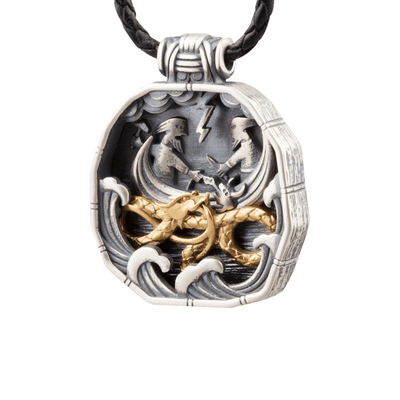 Norse Thor's Encounter Jormungandr Sterling Silver Pendant
