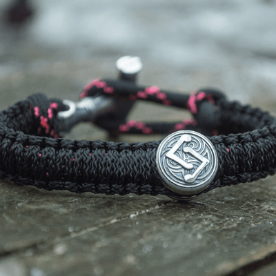 Thor Hammer with Runes Paracord Bracelet Sterling Silver