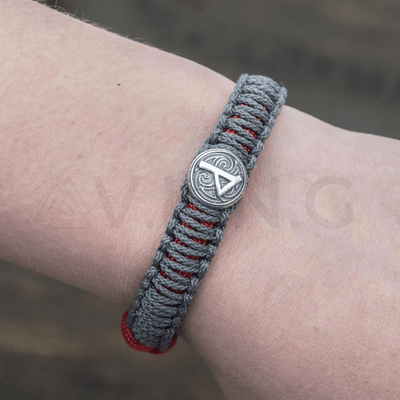 Viking Axe with Runes Paracord Bracelet Sterling Silver