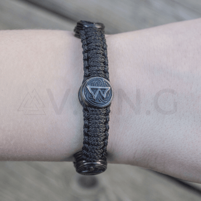 Thor Hammer with Ruthenium Paracord Bracelet Sterling