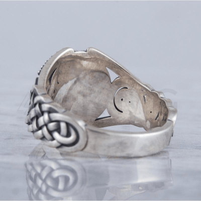 Helm of Awe Symbol Viking Ornament Sterling Silver Ring