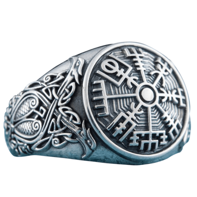Vegvisir Symbol Scandinavian Style Ornament Sterling Silver Ring