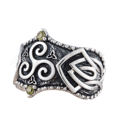 Triskelion Symbol Norse Ornament Sterling Silver Ring