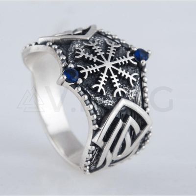 Helm of Awe Symbol Norse Ornament Sterling Silver Ring