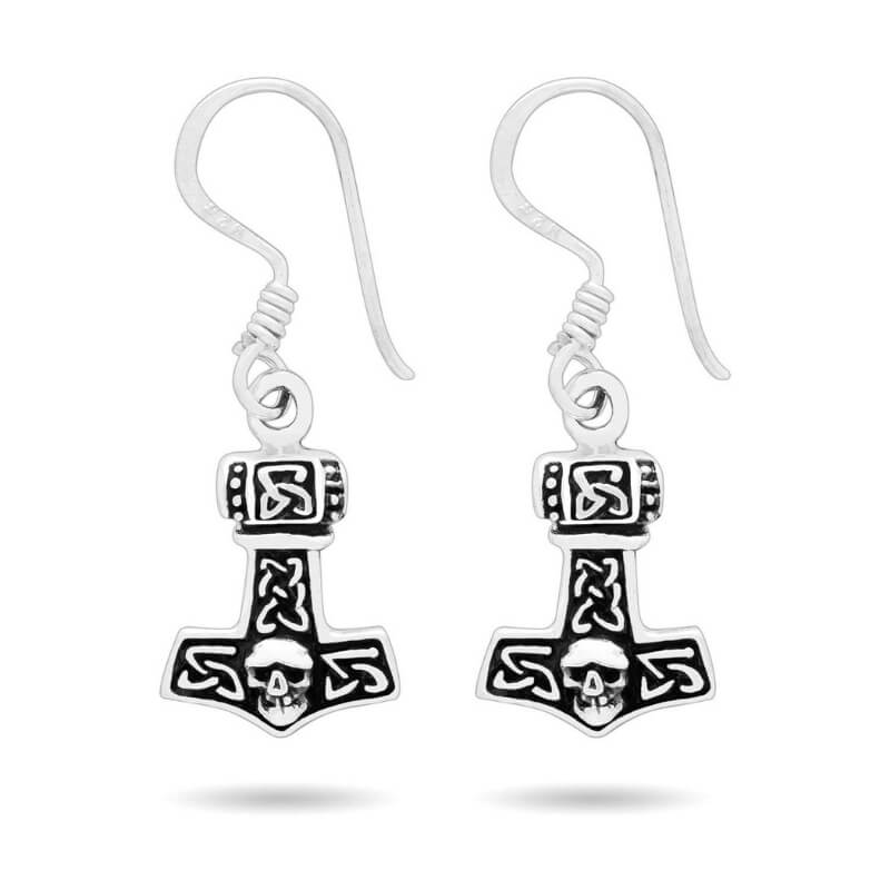 Silver Sterling Thor Hammer Pendant Earrings