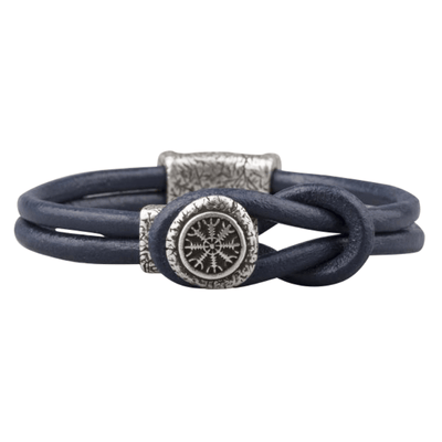 Helm of Awe Clasp Leather Bracelet Silvered
