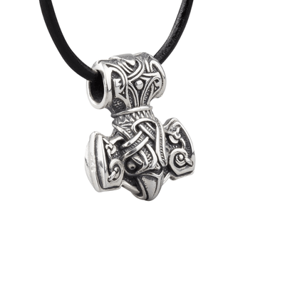 Silver Raven Mjolnir Necklace