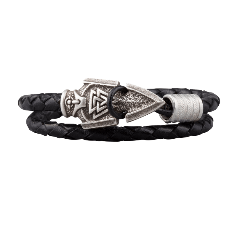 Valknut Odin's Spear Silvered Leather Bracelet