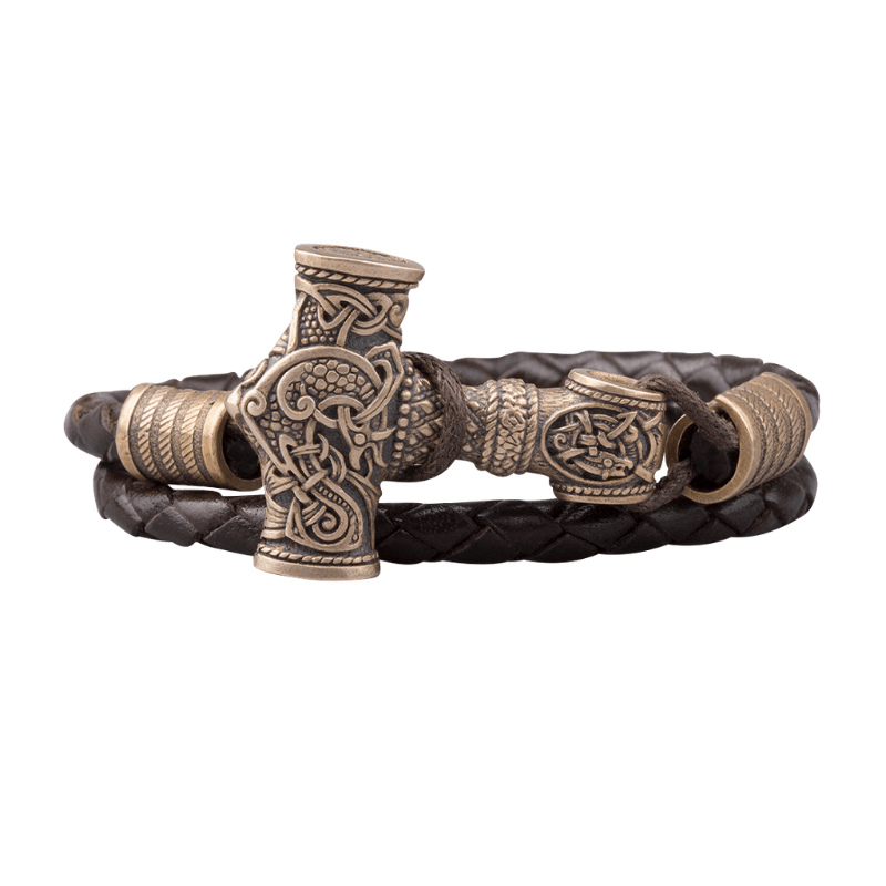 Bronze Thor Hammer Braided Leather Bracelet
