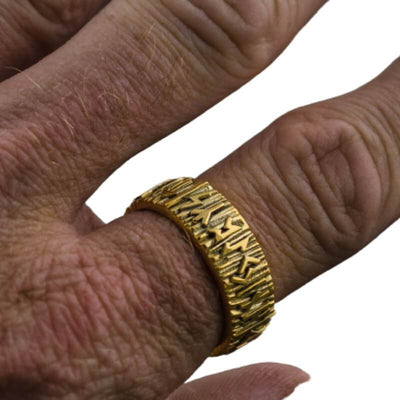 Elder Futhark Runes Gold Ring