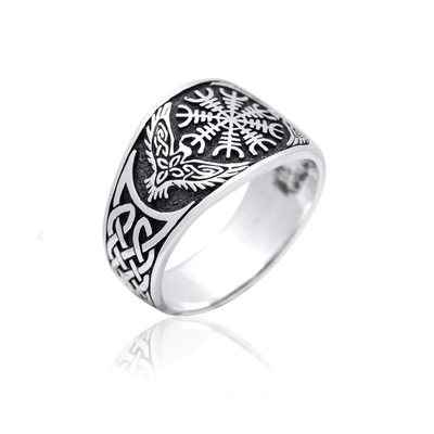 Flat Helm Of Awe Ravens Ring Sterling Silver