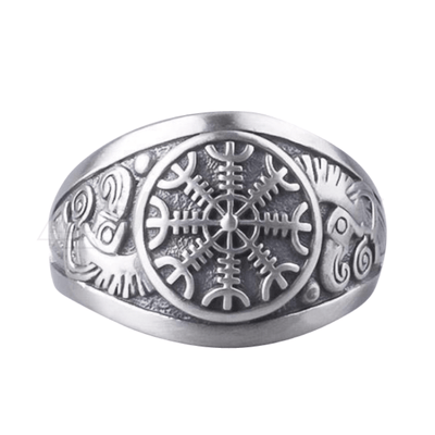 Helm of Terror Silver Viking Ring