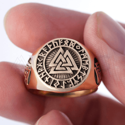 Valknut Signet Runic Polished Bronze Ring