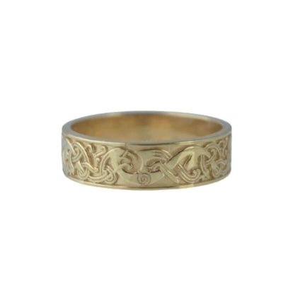 One Side Viking Ornament Gold Ring