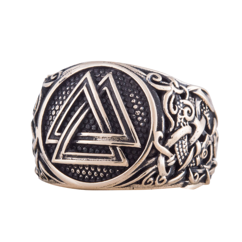 Valknut Mammen Ornament Bronze Ring