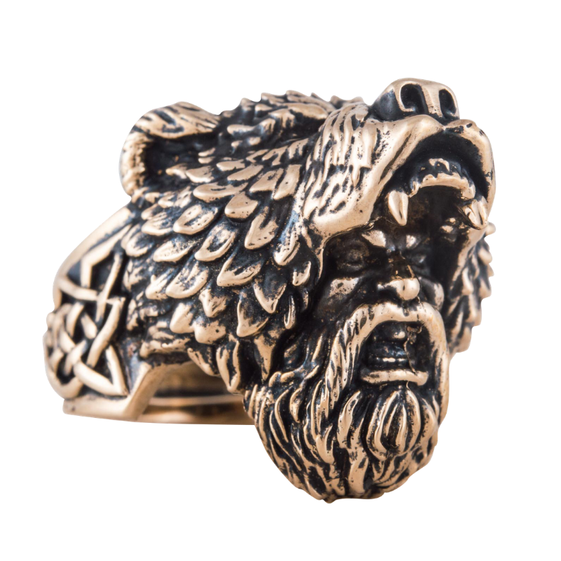 Berserker Head Bronze Ring
