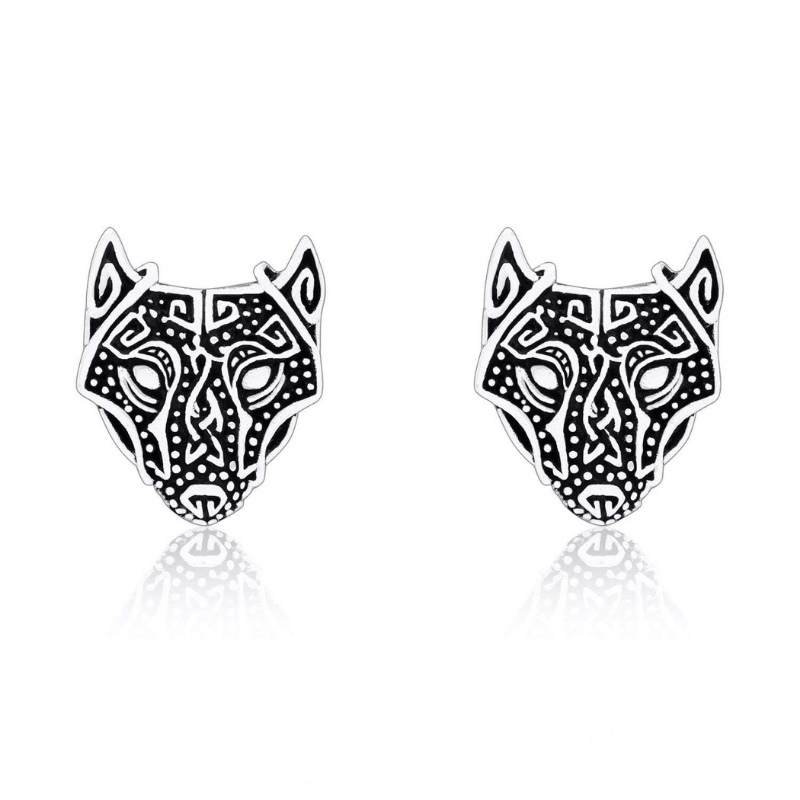 Silver Sterling Wolf Head Earrings