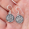 Silver Sterling Berserker Bear Paw Pendant Earrings