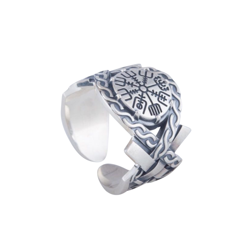 Helm of Awe Symbol with Norse Ornament Sterling Silver Ring