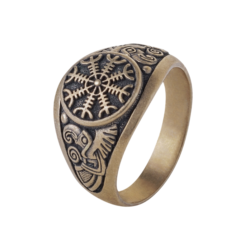 Helm of Awe Viking Ring Raven Bronze