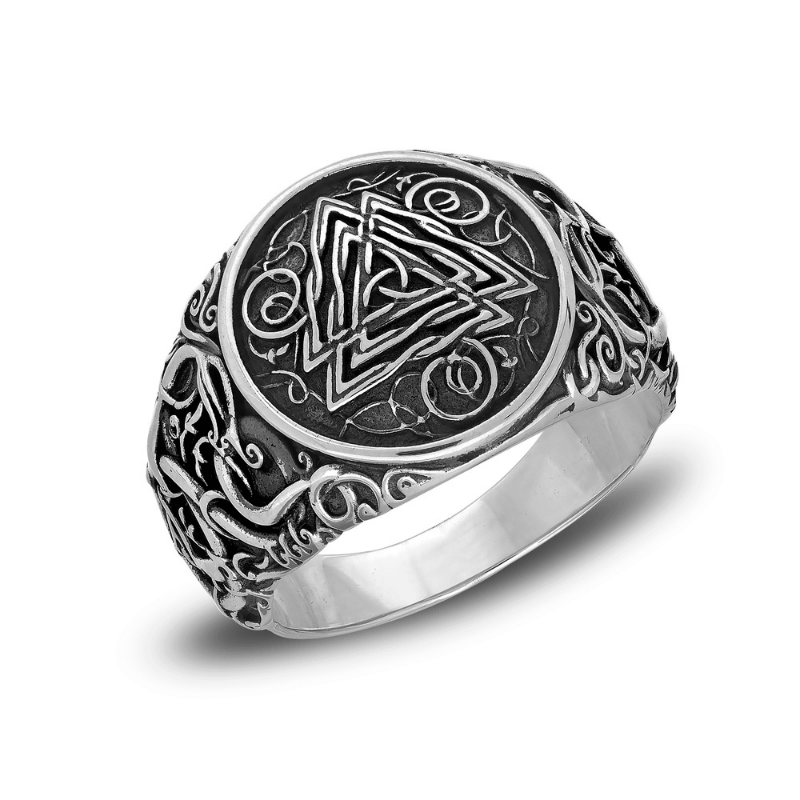 Valknut Urnes Style Sterling Silver Ring