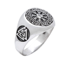 Valknut Helm of Awe Aegishjalmur Sterling Silver Ring