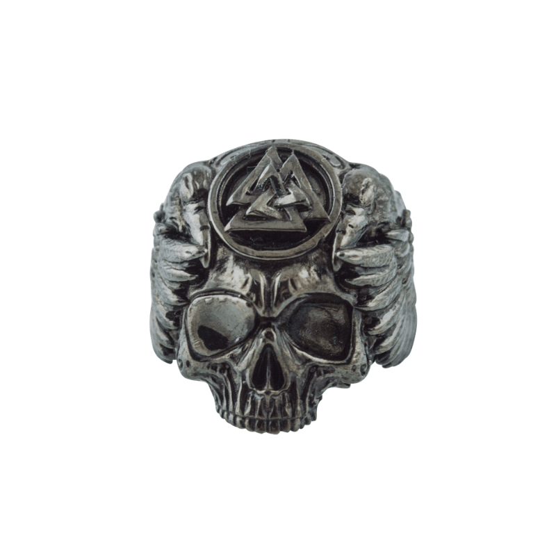 Odin Skull with Valknut Symbol Ruthenium Plated Sterling Silver Ring